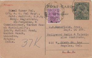 India 1a3p KGV on 9p KGV Postal Card 1939 Garden Beach, Calcutta to Los Angel...