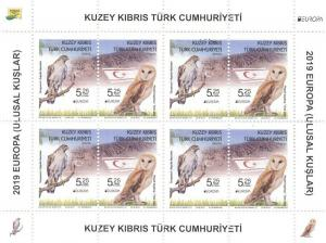 2019  - EUROPA (BIRDS - OWL)  - TURKISH CYPRUS - UMM BLOCK