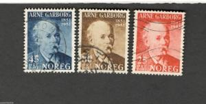 1951 Norway SCOTT #318-320  ARNE GARBORG  Θ used stamp
