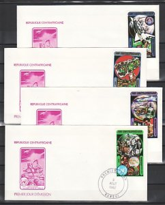 Central Africa, Scott cat. 534-537. Peaceful Use Space issue. First Day Cover. ^