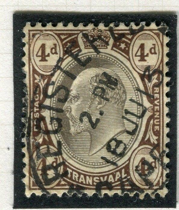 TRANSVAAL Interprovincial Period Ed VII CAPE TOWN Postmark on 4d.