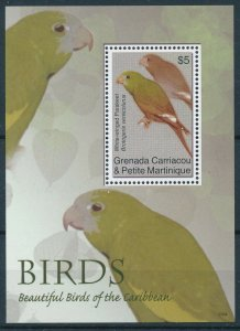 [108780] Carriacou, Petite Martinique 2007 Birds Parakeet Sheet MNH