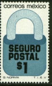 MEXICO G26 $1P Padlock Insured Mail Unwmkd Fosfo Paper 1 MNH