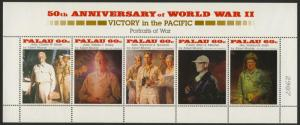 Palau 380 MNH WWII, Military Leaders, Nimitz, Halsey, Spruance, Mitscher