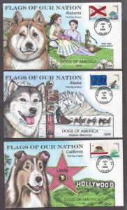 **US FDC SC# 4273-4288 Washington, DC 6/14/2008 Flags of the US & Dogs Collins