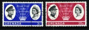 GRENADA Queen Elizabeth II 1966 Royal Visit Set SG 229 & SG 230 VFU