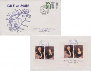 Great Britain 3d QEII Flowers and reverse franked Calf of Man (Seamail servic...