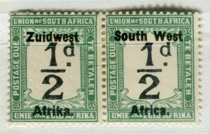 SOUTH WEST AFRICA; 1923 early Postage Due issue Mint hinged 1/2d. pair