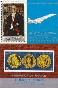 Yemen - 1969 French History - Set of 2 Souvenir Sheets - Scott #268G-H