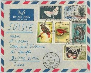 42901 - MADAGASCAR - POSTAL HISTORY - COVER  - BUTTERFLIES birds MONKEYS 1964