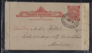 URUGUAY (P0105B)  1902 PS LETTER CARD USED SAN JOSE TO MONTEVIDEO