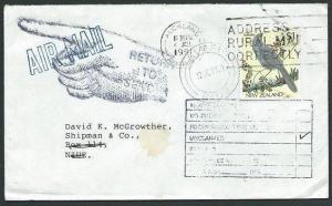 NIUE 1991 cover from New Zealand returned to sender - Alofi cds............40708