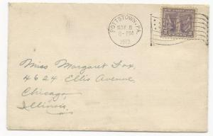 US Scott #537 on Cover w/ Nice Flag Cancel Pottstown, PA May 8, 1919