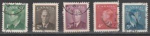 #284-288 Canada Used George VI Postage-Poste Issue