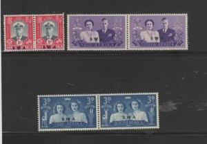 SOUTH WEST AFRICA #156-158  1947  ROYAL VISIT ISSUE    MINT VF LH O.G  a