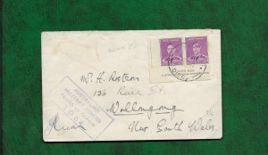 AUSTRALIA 1944 MILITARY CENSORED COVER WITH ASH IMPRINT PAIR