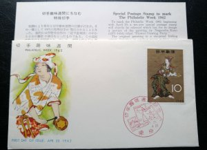 """RARE JAPAN 1962 """"DANCING LADY"""" SPECIAL COVER 1ST DAY CANCELLED UNIQUE & INTEREST"""