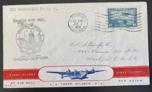 1939 Shediac Canada First Official Flight Airmail Cover FFC To New York USA