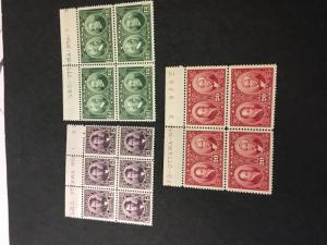 Canada USC #146-8 Mint Cat. $283. 1927 Historical Issue Plate Blocks F-VF-H - NH