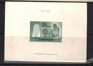 Canada #334DP Large Die Proof In Green On Card