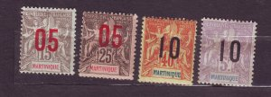 J23802 JLstamps 1912 french martinique set mh/mhr #101-4 ovpt,s, 2 scans