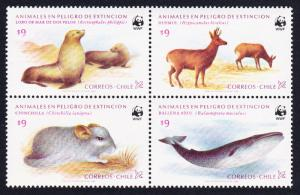 Chile WWF Conservation in Chile 4v in block 2*2 type 3 SG#993-996 MI#1066-1069