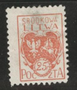 CENTRAL LITHUANIA  Scott 1 MH* 1921 thinned