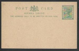SIERRA LEONE QV ½d postcard fine unused....................................56970