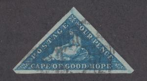 Cape of Good Hope Sc 2 used. 1853 4p deep bue Hope Seated triangular, almost VF