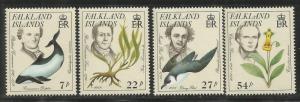 FALKLAND ISLANDS  433-436  MNH, NATURALISTS, ENDANGERED SPECIES