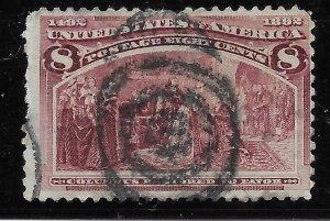 US #236 used. Columbian Commemoratives. Columbus restored to favor.