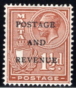 152 Malta, MHOG, 1½p, 1928, Stamp of 1926-1927 O/PPOSTAGE AND REVENUE