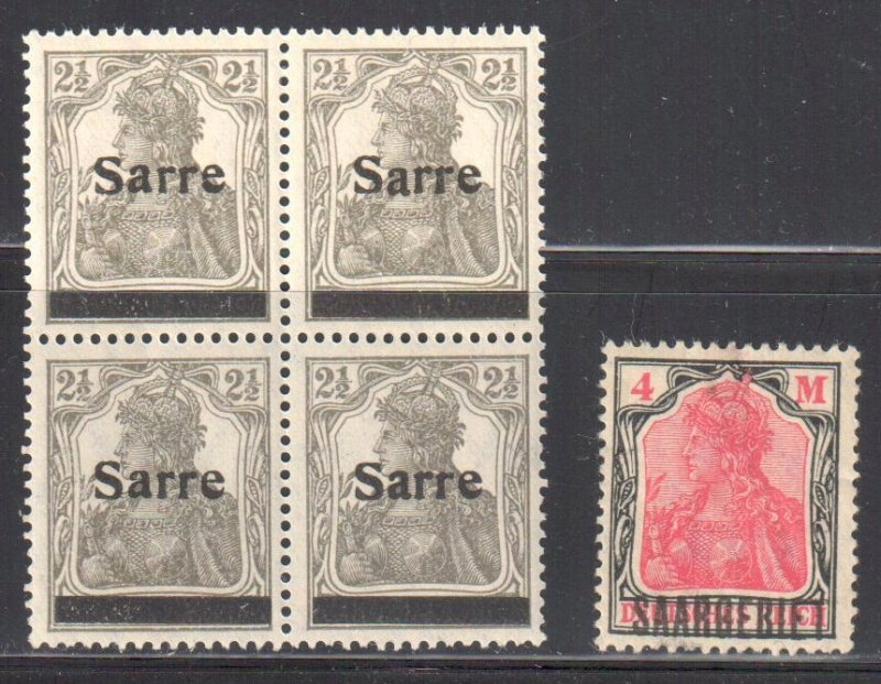 Saar #2 Block of 4 Mint 2NH-2LH + #58 Mint Hinge