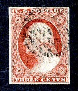 US #10 1851-57 3c George Washington. Used XF