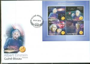 GUINEA BISSAU 2013 TRIBUTE TO ALBERT EINSTEIN WITH NOBEL PRIZE  MEDAL SHEET  FDC