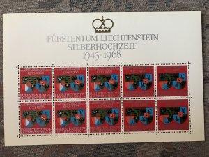 LIECHTENSTEIN - 1968 - 25th Wedding Anniv Duke & Duchess. Sheet, 10v. Mint NH