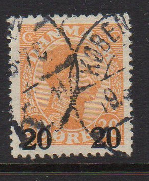 Denmark Sc 176 1926 20 ore ovpt on 30 ore Christian X stamp used