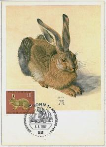 MAXIMUM CARD - POSTAL HISTORY - Germany: Hares, Jackrabbits, Rabit, Hunting 1967