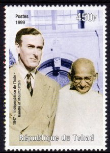 Chad 1999 Sc#808d GANDHI INDIAN INDEPENDENCE  (1) perforated MNH