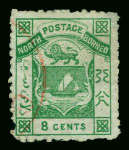 NORTH BORNEO  1884  Coat of Arms  8c green  Scott # 3 used