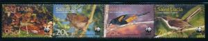 St. Lucia MNH Strip WWF Birds 2001