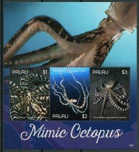 Palau 2019 MNH Mimic Octopus 3v M/S I Molluscs Marine Animals Stamps