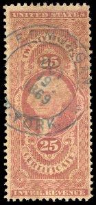 01414 U.S. Revenue Scott R44c 25c Certificate, blue 1869 handstamp cancel