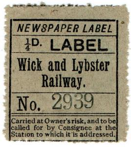 (I.B) Wick & Lybster Railway : Newspaper Parcel ¼d