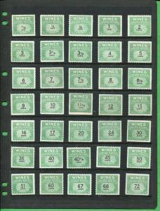Wine Stamp Collection 48 Different MINT NH 1941 issue CAT $147.15