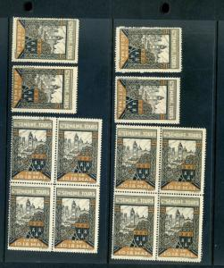 12 VINTAGE 1930 FRENCH WEEK OF TOURS EXPO POSTER STAMPS (L778) FRANCE