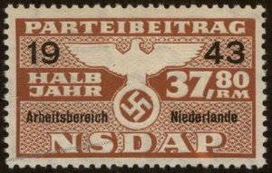 Germany NSDAP Party 37.80RM Dues Occupied Netherlands 96220