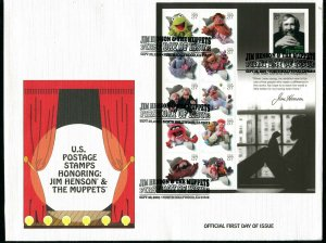 # 3944 Jim Henson and the Muppets FDC September 28, 2005   Full Sheet