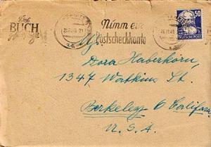 Germany Soviet Zone 50pf Marx 1949 (10b) Chemnitz 4 Nimm ein Postscheckkonto ...