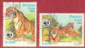 LAOS STAMPS SC# 517+518  *CTO* 1984  25c  TIGER  SEE SCAN